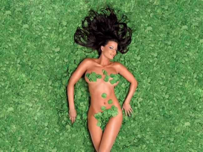 девушка прикрытая листьями